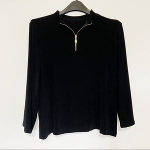 Chico's Travelers Gold Zippered Black Top Size 2